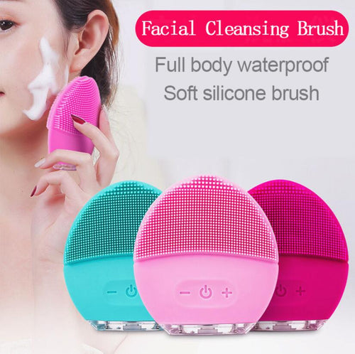 Electric Silicone Facial Cleansing Brush Sonic Vibration Massage USB