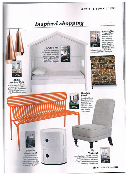 London Brick Wallpaper as featured in 25 Beautiful Homes - September 2016