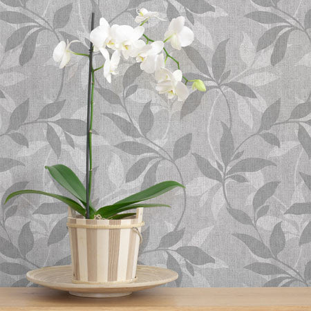 Leafy Denim Scroll Grey White - DebbieMcKeegan - Wallpaper - 1