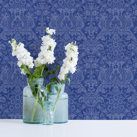 Denim Damask Indigo - DebbieMcKeegan - Wallpaper - 1