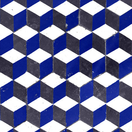 Abacus - DebbieMcKeegan - Wallpaper - Blue geometric
