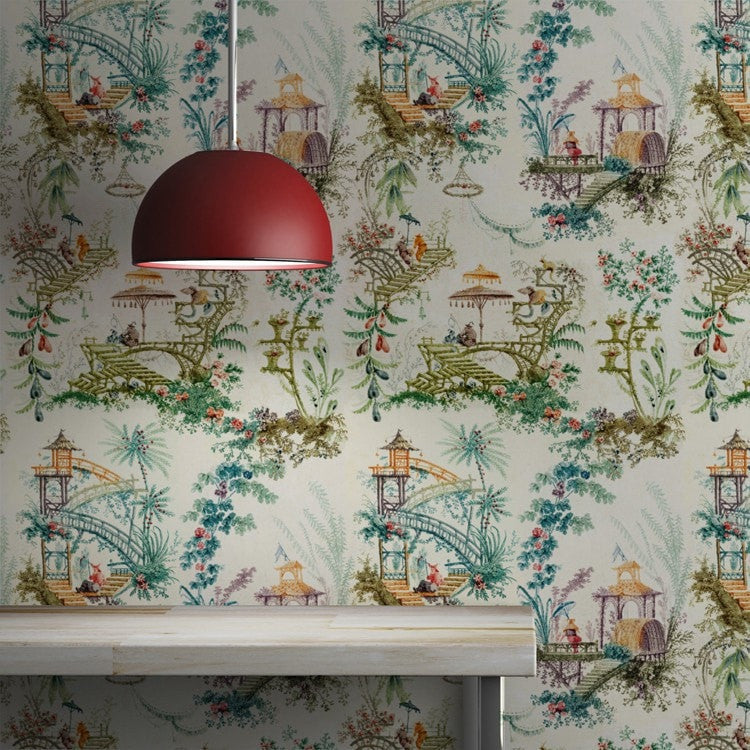 Scenic, Florals, and Ancient Pagodas are jut a few of the ornamental details to be found in this rich Chinoiserie collection of luxury wallpapers and fabrics.