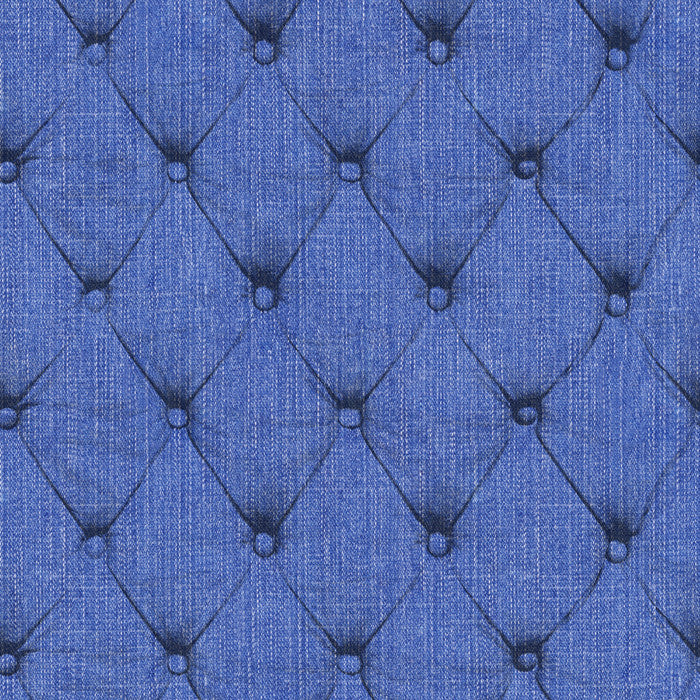 Denim Chesterfield - Indigo - DebbieMcKeegan - Wallpaper - 1