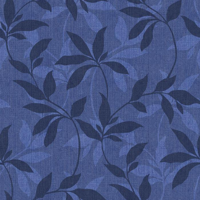 Leafy Denim Scroll - Indigo (fabric)