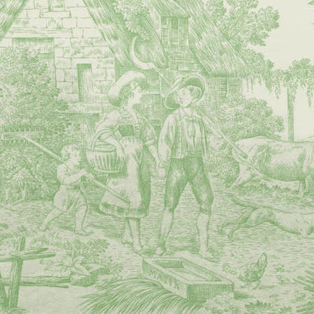 Pistachio Ombre Country Toile - DebbieMcKeegan - Wallpaper - 2