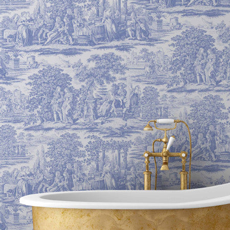 Garden Toile Blue - DebbieMcKeegan - Wallpaper - 1