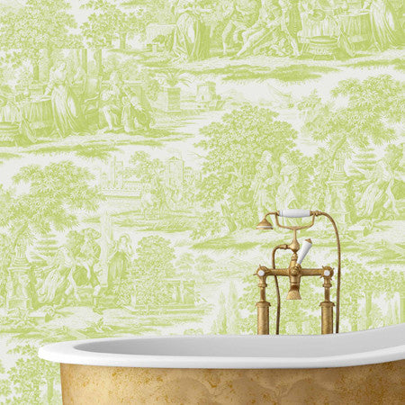 Garden Toile Lime - DebbieMcKeegan - Wallpaper - 1