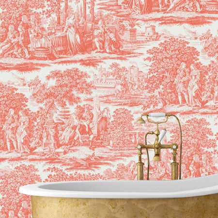 Garden Toile Orange - DebbieMcKeegan - Wallpaper - 1
