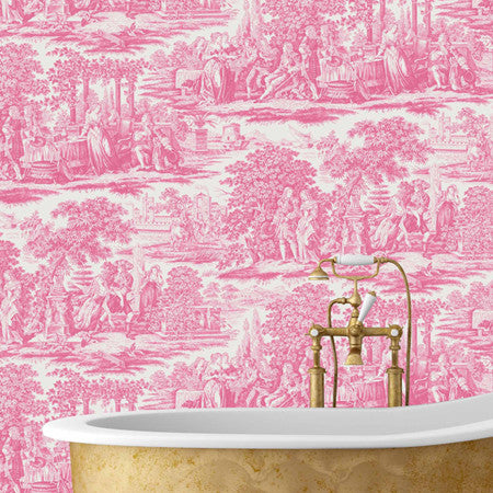 Garden Toile Pink - DebbieMcKeegan - Wallpaper - 1