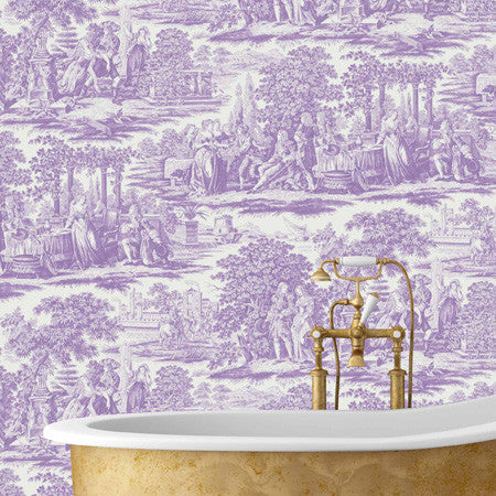 Garden Toile Purple - DebbieMcKeegan - Wallpaper - 1