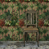 A beautiful floral wallpaper and fabric, finely detailed and drawn in the Botanical style.