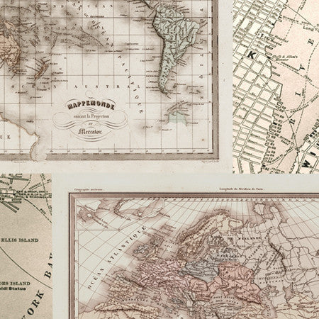 Vintage Multi Map Panel - DebbieMcKeegan - Wallpaper - 2