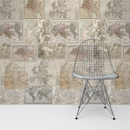 Vintage Multi Map Panel - DebbieMcKeegan - Wallpaper - 1