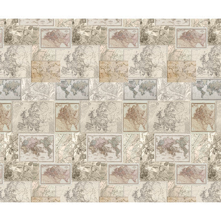 Vintage Multi Map Panel - DebbieMcKeegan - Wallpaper - 3