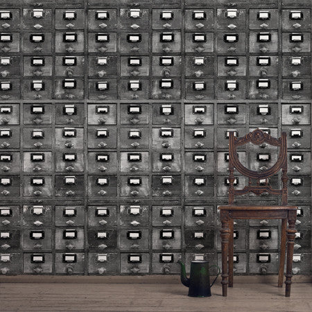 Vintage Drawers Black and White - DebbieMcKeegan - Wallpaper - 2