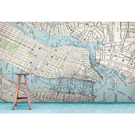 Vintage New York Map - DebbieMcKeegan - Wallpaper - 2