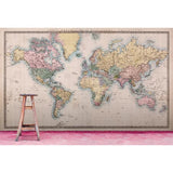 Vintage World Map Mural - DebbieMcKeegan - Wallpaper - 2