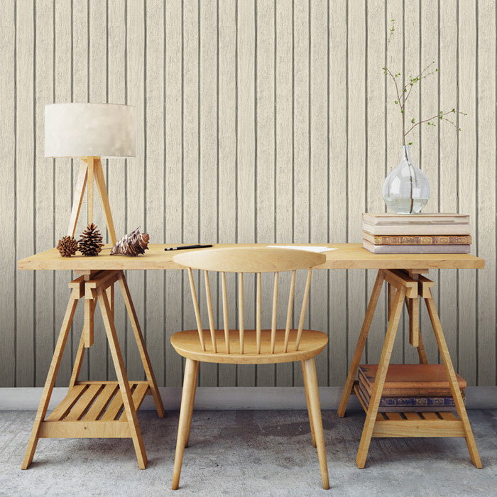 Sawn Wood Slats- Bone - DebbieMcKeegan - Wallpaper - 2