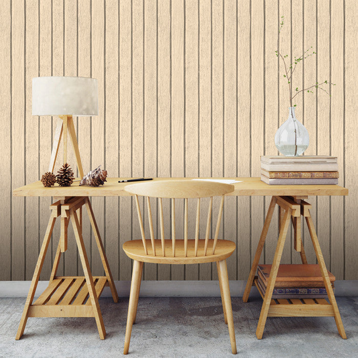Sawn Wood Slats- Cream - DebbieMcKeegan - Wallpaper - 2