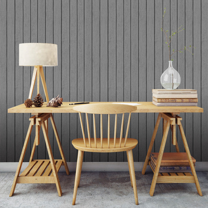 Sawn Wood Slats- Grey - DebbieMcKeegan - Wallpaper - 2