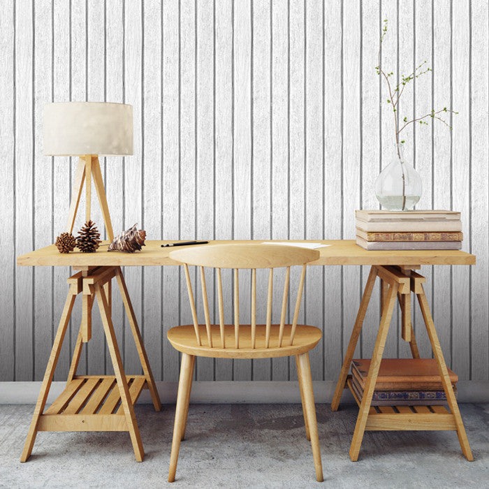 Sawn Wood Slats- White - DebbieMcKeegan - Wallpaper - 1