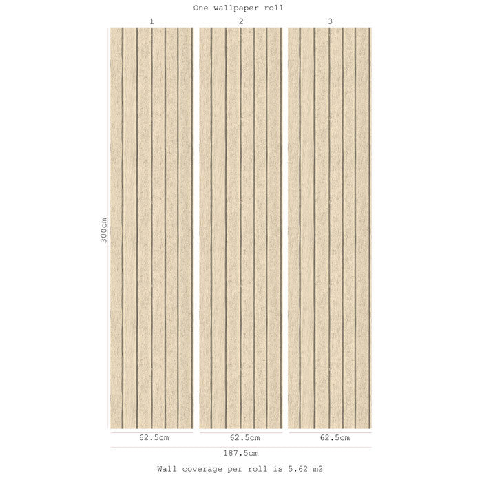Sawn Wood Slats- Cream - DebbieMcKeegan - Wallpaper - 3