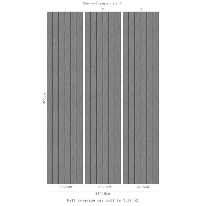 Sawn Wood Slats- Grey - DebbieMcKeegan - Wallpaper - 3