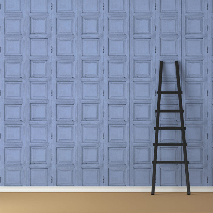 Wooden Square Panels- Blue - DebbieMcKeegan - Wallpaper - 3