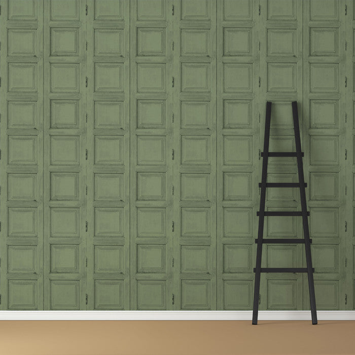 Wooden Square Panels- Green - DebbieMcKeegan - Wallpaper - 3