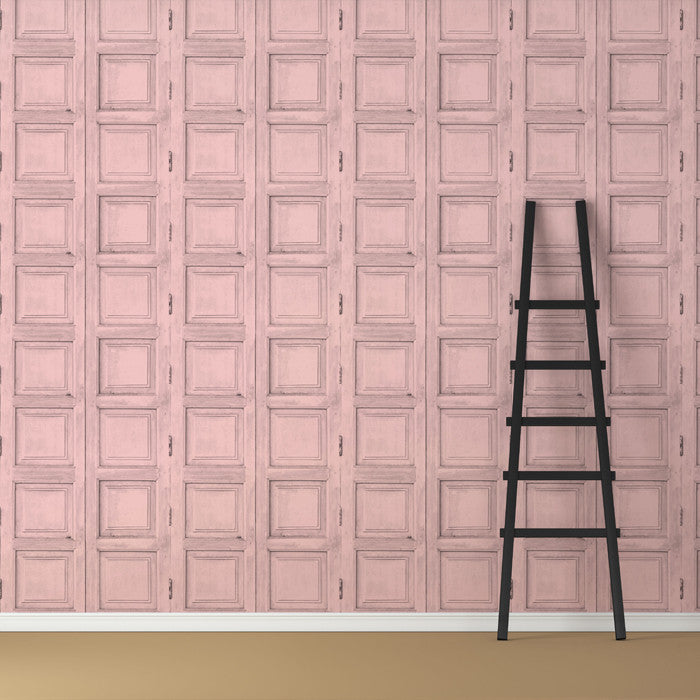 Wooden Square Panels- Pink - DebbieMcKeegan - Wallpaper - 3