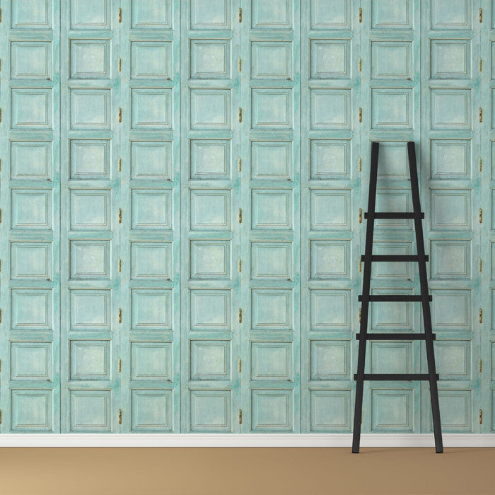 Wooden Square Panels- Turquoise - DebbieMcKeegan - Wallpaper - 3
