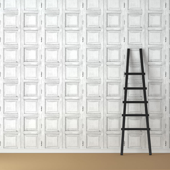 Wooden Square Panels- White - DebbieMcKeegan - Wallpaper - 1
