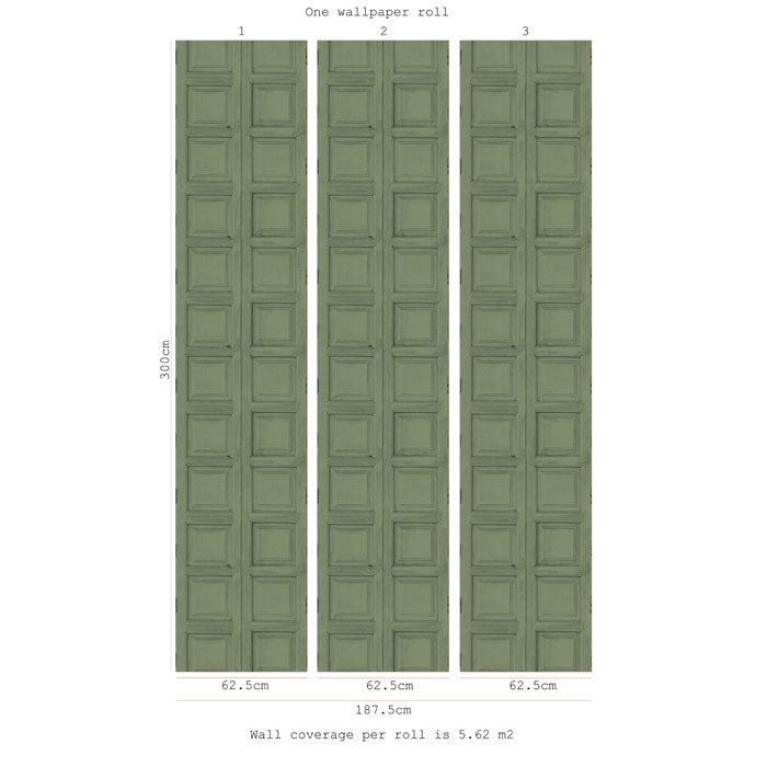 Wooden Square Panels- Green - DebbieMcKeegan - Wallpaper - 2