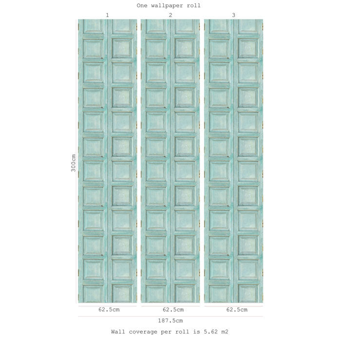 Wooden Square Panels- Turquoise - DebbieMcKeegan - Wallpaper - 2