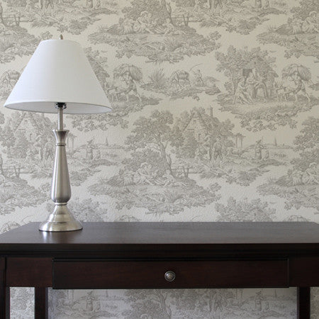 Country Toile Grey - DebbieMcKeegan - Wallpaper - 1