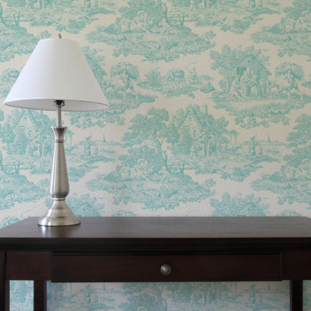 Country Toile Teal - DebbieMcKeegan - Wallpaper - 1
