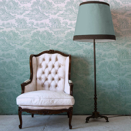 Teal Ombre Country Toile - DebbieMcKeegan - Wallpaper - 1