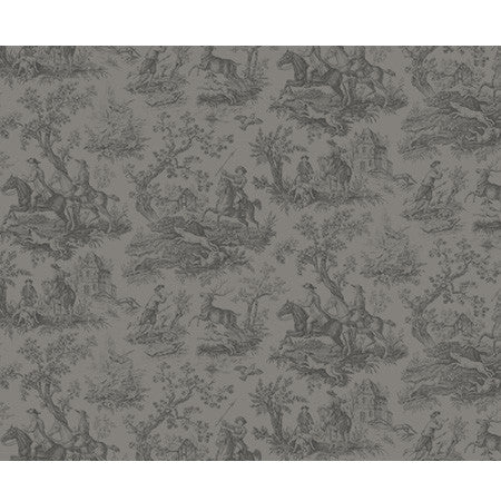 Hunting Toile Charcoal - DebbieMcKeegan - Wallpaper - 3