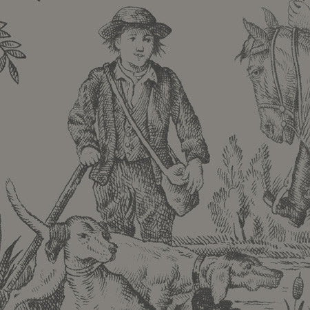 Hunting Toile Charcoal - DebbieMcKeegan - Wallpaper - 2
