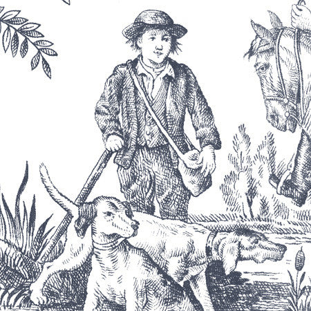Hunting Toile Charcoal/White - DebbieMcKeegan - Wallpaper - 2