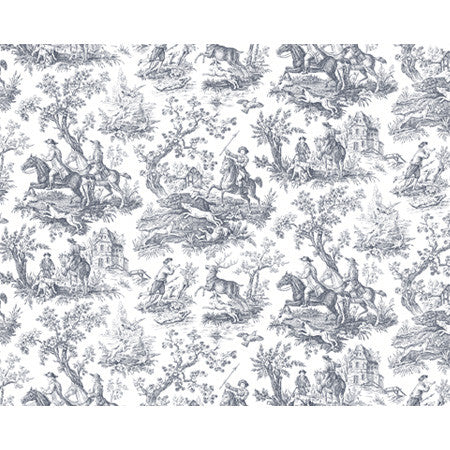 Hunting Toile Charcoal/White - DebbieMcKeegan - Wallpaper - 3