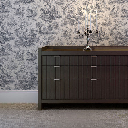 Hunting Toile Charcoal/White - DebbieMcKeegan - Wallpaper - 1
