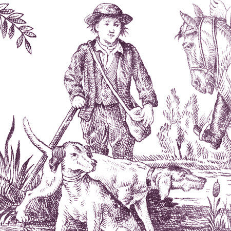 Hunting Toile Plum/White - DebbieMcKeegan - Wallpaper - 2