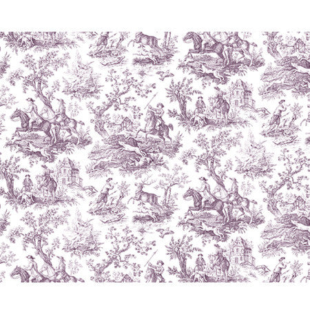 Hunting Toile Plum/White - DebbieMcKeegan - Wallpaper - 3