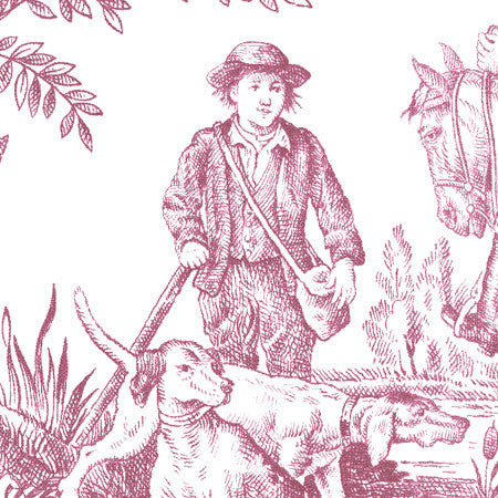 Hunting Toile Raspberry/White - DebbieMcKeegan - Wallpaper - 2
