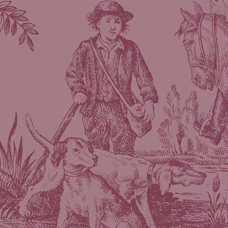 Hunting Toile Raspberry - DebbieMcKeegan - Wallpaper - 2