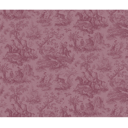 Hunting Toile Raspberry - DebbieMcKeegan - Wallpaper - 3