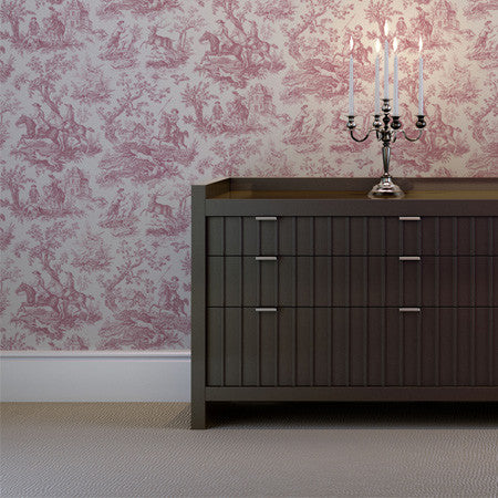 Hunting Toile Raspberry/White - DebbieMcKeegan - Wallpaper - 1