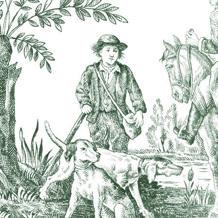 Hunting Toile Forest/White - DebbieMcKeegan - Wallpaper - 2
