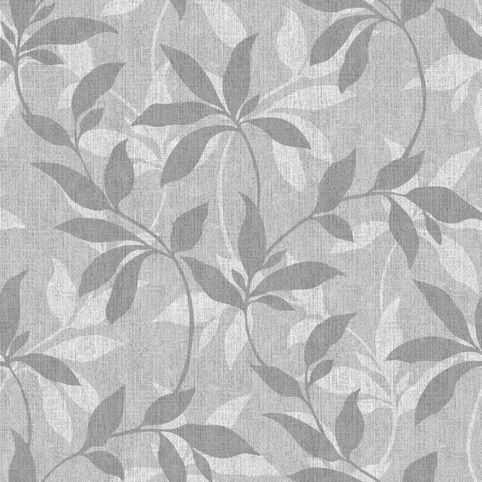 Leafy Denim Scroll Grey White - DebbieMcKeegan - Wallpaper - 2